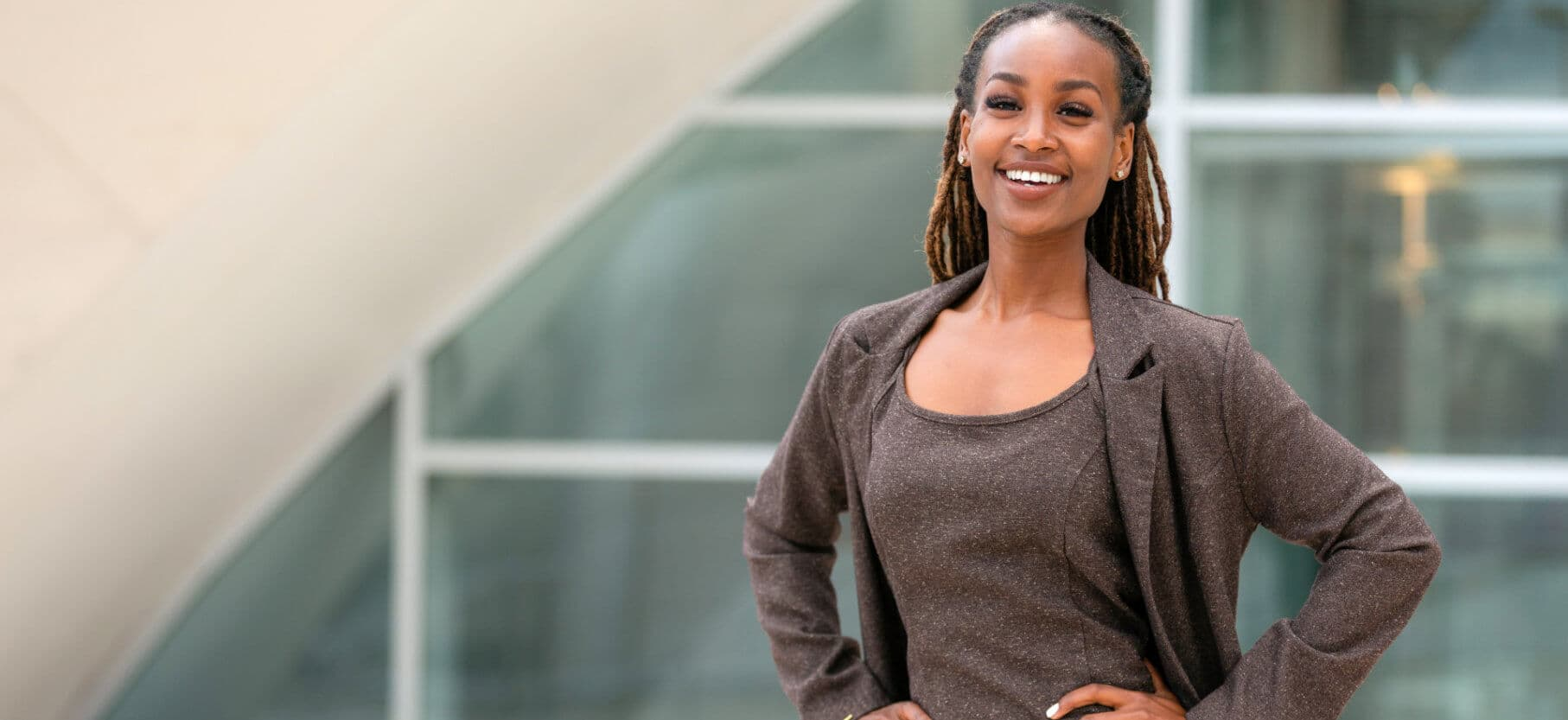 modern portrait of african american female business person
